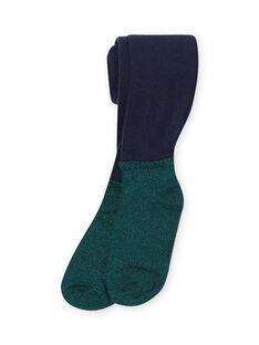 Marineblaue und grüne Strumpfhose für Mädchen MYATUCOL1 / 21WI01K2COL070
