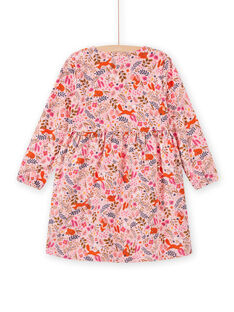 Altrosa Kleid mit ausgefallenem Blumendruck für ein Kind Mädchen MASAUROB1 / 21W901P2ROB303