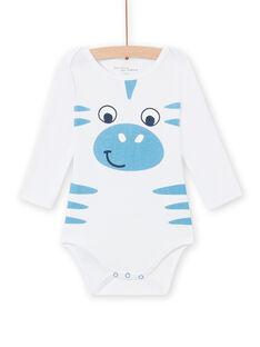 Weißer Zebramuster-Body für Baby-Jungen MEGABODZEB / 21WH14C1BDL000