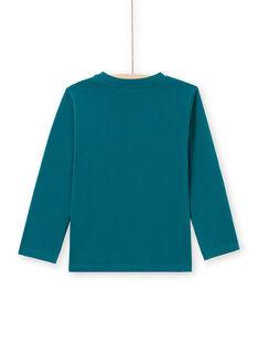 Blaues Langarm-T-Shirt mit Tyrannosaurus Design Kind Junge MOTUTEE6 / 21W902K6TML714