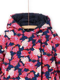 Rosa und marineblauer Wende-Kapuzenparka für Mädchen MAPAPARKA / 21W90151PAR070