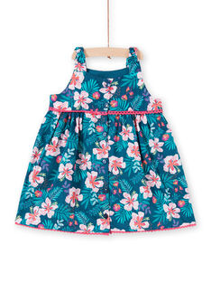 Baby Mädchen Petrol Blau Floral Print Kleid LIBONROB3 / 21SG09W3ROB716