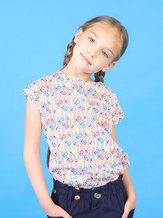 Rosa und blaues T-Shirt mit Streifen und Blumendruck Kind Mädchen LAHATI2 / 21S901X2TMC001