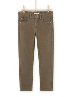 Einfarbig khakifarbene Twill-Hose für Jungen MOJOPAKNI1 / 21W90223PANG631