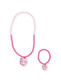 Rosa Perlenkette und Armband für Kinder mit Tiger-Anhänger MYAJOCOU2 / 21WI01S2CLI961