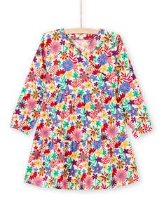 Langärmeliges Kleid für Mädchen mit buntem Blumendruck MAMIXROB2 / 21W901J3ROB009
