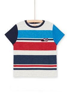 Grau und blau gestreiftes T-Shirt mit Streifen für Kinder und Jungen LOHATI2 / 21S902X1TMCJ920