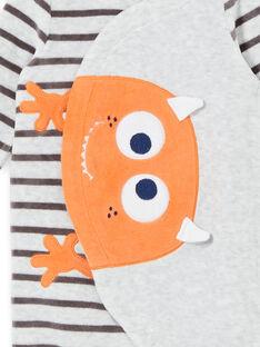 Strampelanzug aus Samt für Jungen mit kleinem Monster-Muster LEFUGREMON / 21SH1411GREJ920