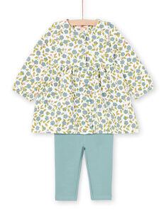 Baby Girl's Ecru und Wasser Grün Floral Print Kleid und Leggings Set MIKAENS / 21WG09I1ENS001