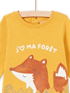 Senfgelbes Langarm-T-Shirt für Baby-Jungen mit Fuchs- und Waldmotiv MUSAUTEE2 / 21WG10P2TMLB106