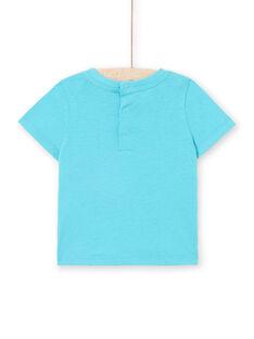 Kurzarm-T-Shirt Baby Junge türkis blau LUBONTI1 / 21SG10W3TMC202