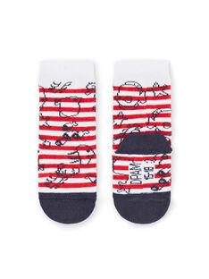 Baby Junge ecru, rot und schwarz Socken LYUVICHO2 / 21SI10U2SOQ001