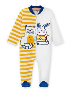 Blauer Strampler für Baby-Jungen mit Tierprint MEGAGREFER / 21WH1433GRE001
