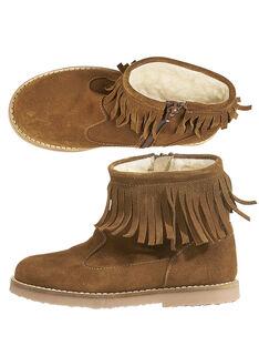 Camel-Stiefel aus Lackleder mit Fransen für Kinder Mädchen GFBOOTFRAN / 19WK35X3D0D804