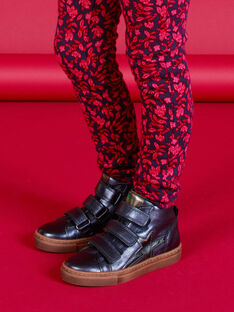 Kind Mädchen marineblaue Metallic-Sneakers mit hohem Schaft MABASMETAL / 21XK3555D3F070