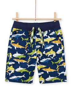 Blau bedruckte Bermuda-Shorts für Jungen LONAUBER / 21S902P1BER070