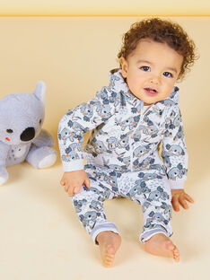 Grau- und ecrufarbener Kapuzenpullover mit Koalas-Baby-Print LUPOEGIL / 21SG10Y1GILA011