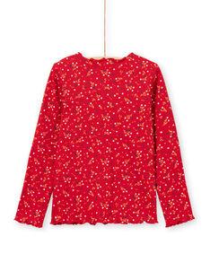 Rotes Mädchen-T-Shirt mit Blumenmuster, gerippt, lange Ärmel MAJOUTEE5 / 21W90126TML511