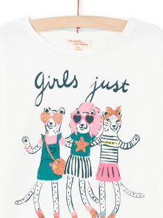 Langarm-T-Shirt mit Tiermotiv für Mädchen in Ecru MAKATEE4 / 21W901I3TML001