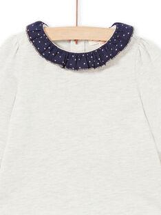 Baby Mädchen beige und marineblau T-shirt MIJOBRA4 / 21WG0912BRAA011