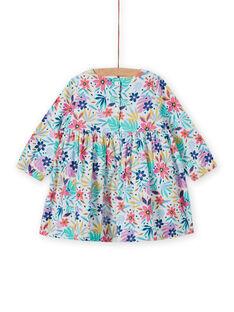 Baby Mädchen mehrfarbiges Cordkleid mit Blumendruck MIPLAROB4 / 21WG09O4ROB001