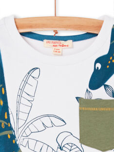 Weiß und blau T-Shirt mit Laub Druck für Jungen und Mädchen LOVERTI3 / 21S902Q4TMC000