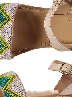 Sandalen aus Leder mit Perlen für draußen Mädchen FFSANDJU / 19SK35D4D0E301