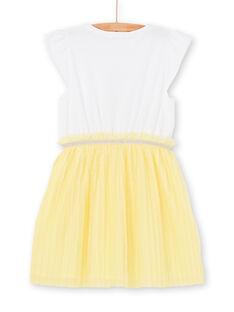 Weißes und gelbes Kleid Kind Mädchen LAJAUROB5 / 21S901O5ROB000