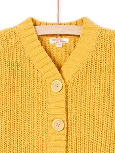 Gelbe langärmelige Strickjacke für Mädchen MAMIXCAR1 / 21W901J2CARB106