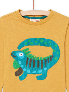 Gelbes Langarm-T-Shirt für Jungen mit Leguan-Print MOTUTEE2 / 21W902K3TMLB101