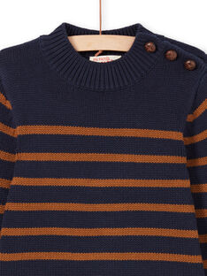 Marineblau und braun gestreifter Pullover für Jungen MOJOPUL2 / 21W90211PUL812