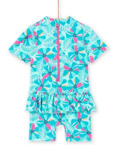 Baby-Mädchen-Badeanzug in Türkisblau LYICOMBEX / 21SI09DDMAIG621