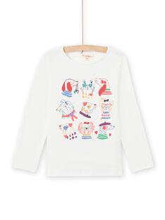 Langarm-T-Shirt für Mädchen mit ausgefallenem Druck MAMIXTEE5 / 21W901J1TML001