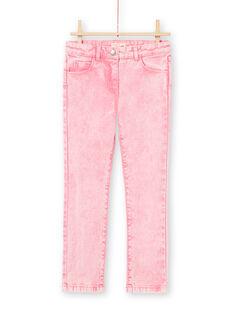 Pinke Mädchenjeans mit Acid-Wasch-Effekt MAKAJEAN / 21W901I1JEAD305