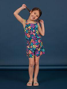 Boy's floral print ruffled bib and brace overalls LAMUMCOMB2 / 21S901Z1CBLC211