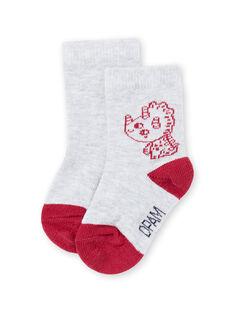 Graue und rote Dinosaurier-Socken für Baby-Jungen MYUJOCHOU1 / 21WI101ASOQ943