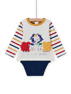 Baby-Jungen-T-Shirt mit mehrfarbigen Schafen MUMIXBOD2 / 21WG10J1BOD001