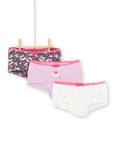 Satz von 3 Shorts rosa, lila und weiß Kind Mädchen LEFAHOT6 / 21SH1126SHYJ916