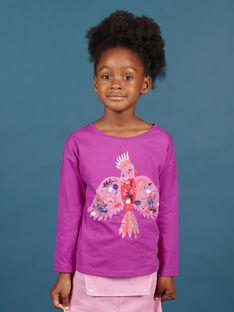 Langärmeliges Papageien-T-Shirt für Mädchen in Lila MAPATI1 / 21W901H3TML712