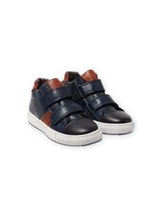 Marineblaue High-Top-Sneakers mit bunten Details Kind Junge MOBASNEWMAR / 21XK3671D3F070