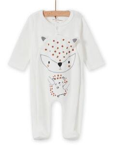 Ungebleichter Strampler für Baby-Mädchen mit Tierprint MOU2GRE1 / 21WF05D3GRE001