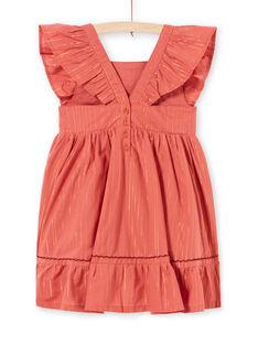 Lurex®-Streifen und Blumenstickerei Kleid für Mädchen LATEROB3 / 21S901V1ROBE415