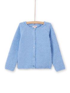 Hellblaue Chenille-Strickjacke für Mädchen MAYJOCAR3 / 21W90119CAR706