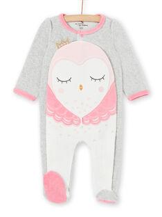 Mädchenschlafanzug aus grauem und rosa Samt LEFIGRECHOU / 21SH1358GREJ920