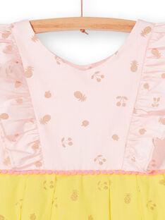 Rosa und gelb glitzernde Frucht gedruckt Kleid LAJAUROB3 / 21S901O2ROB307