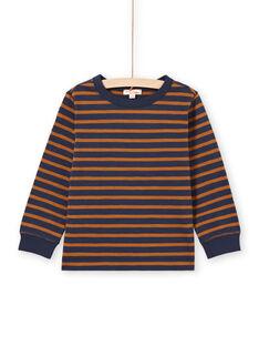 Langarm-T-Shirt für Jungen mit braunen und marineblauen Streifen MOJOTIRIB4 / 21W9022BTML812