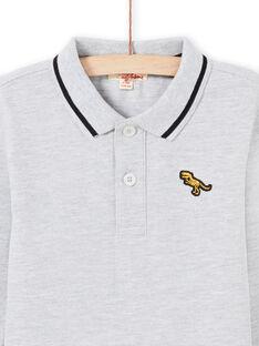 Langarm-Poloshirt für Jungen einfarbig grau MOJOPOL3 / 21W90215POLJ922