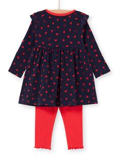 Marineblaues Kleid und Baby Mädchen rote Leggings LIHAENS / 21SG09X1ENS070