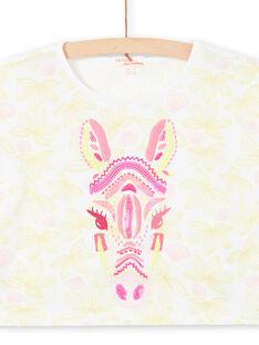 T-Shirt kurze Ärmel blumigen Druck und Zebra Kopf gestickt Kind Mädchen LABONTI3 / 21S901W2TMC000