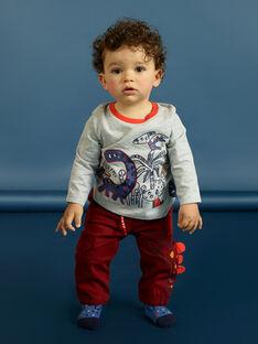 Graues Baby-Jungen-T-Shirt mit langen Ärmeln und Dinosaurier-Druck MUPATEE3 / 21WG10H2TML943